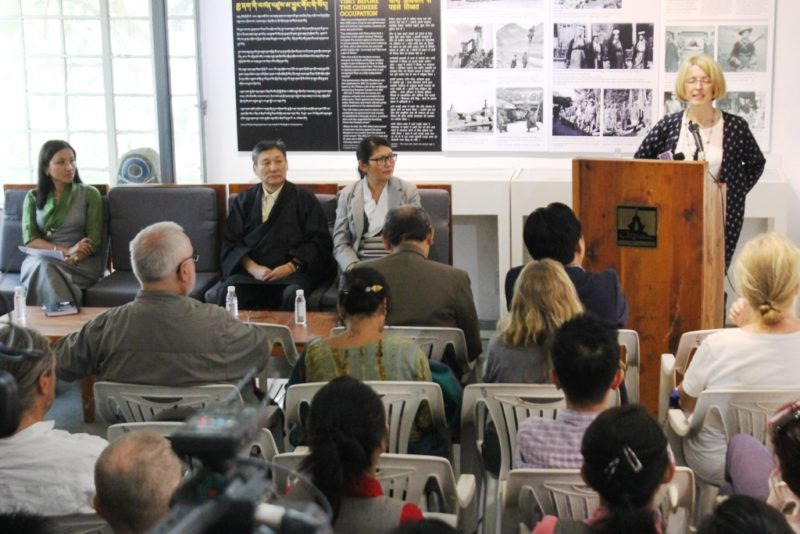 Dr. Emma Martin of NML speaking at the inauguration of the photo exhibition with two secretaries of DIIR, Tenzin Dhardon Sharling (left) and Sonam Norbu Dagpo (middle) at the Tibet Museum on April 14, 2017. Photo Kunsang Gashon