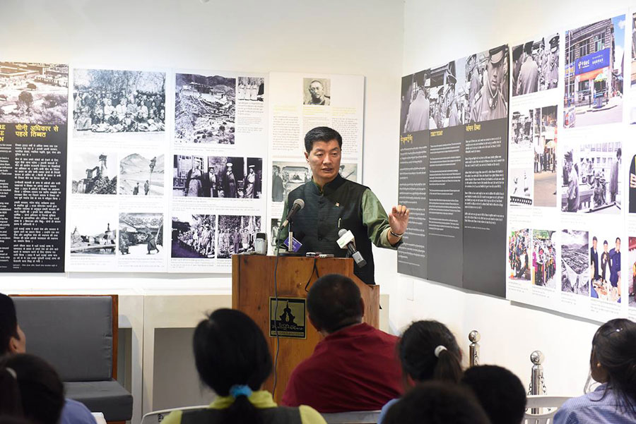 Lobsang Sangay, President of Central Tibetan Administration speaks during the celebration of 40th International Museum Day at the Tibet Museum near Tsuglagkhang, Mcleod Ganj on May 18, 2017. Monlam