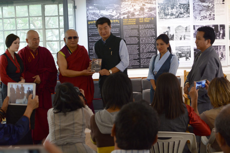 Lama Tarba (President of Ngawang Dorjee Foundation), Vllena Dylykova (last living relative of Ngawang Dorjee), CTA President Dr. Lobsang Sangay, Dhardon Sharling (secretary Equivalent, DIIR) and Tashi Phuntsok (director, Tibet Museum) Launching the DVD of Ngawang Dorjee. Photo/Tenzin Ramjam/Tibet Museum