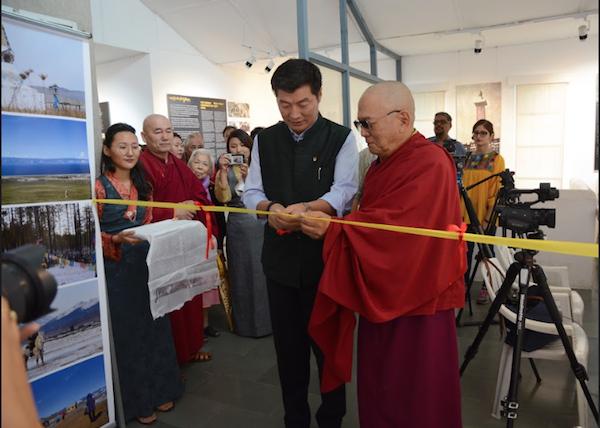 President Dr Lobsang Sangay, CTA and Tarba Lama, President of Agvan Dorjiev Foundation inaugurating Tibet Museum's exhibition titled 'Remembering Ngawang Dorjee' at the Tibetan Musuem, 9 June 2017. Photo/Tenzin Ramjam/Tibet Museum