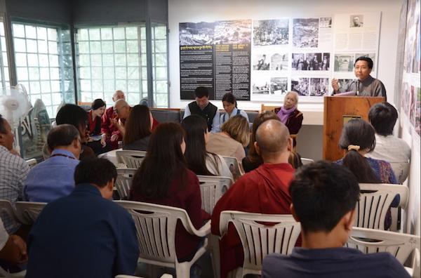 Mr Tashi Phuntsok, Director of Tibet Museum addressing the inaugural ceremony of Tibet Museum's exhibition titled, 'Remembering Ngawang Dorjee', 9 June 2017. Photo/Tenzin Ramjam/Tibet Museum