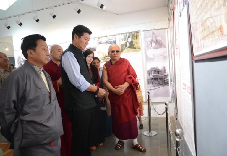 President Dr Lobsang Sangay, CTA and Tarba Lama, President of Agvan Dorjiev Foundation touring the exhibition titled 'Remembering Ngawang Dorjee' at the Tibetan Musuem, 9 June 2017. Photo/Tenzin Ramjam/Tibet Museum
