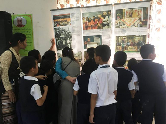 The Tibet Museum showcasing a two-day exhibition on 'Biography of His Holiness the Dalai Lama' and 'Why are Tibetans turning to Self-Immolations?' in Bylakuppe, 8 July 2017