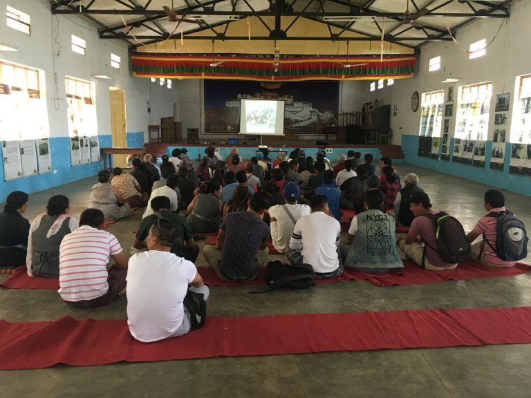 Screening of documentary, 'What Remains of Us' to members of the Dhondeling Tibetan settlement by Tibet Museum.