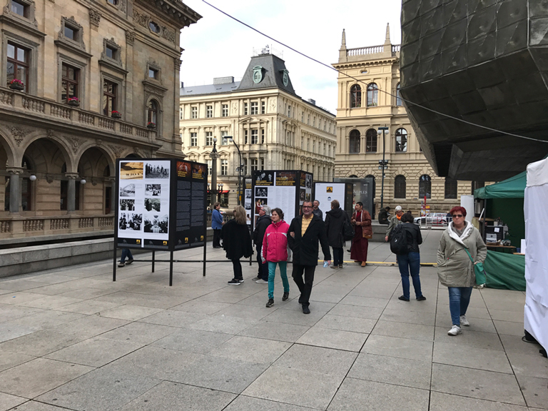 Visitors going through exhibition at Vaclav Havel Square