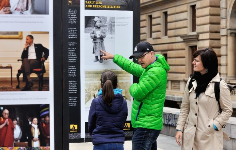 Photo Exhibition detailing the life and legacies of His Holiness the Dalai Lama at Vaclav Havel Square in Prague, Czech Republic.
