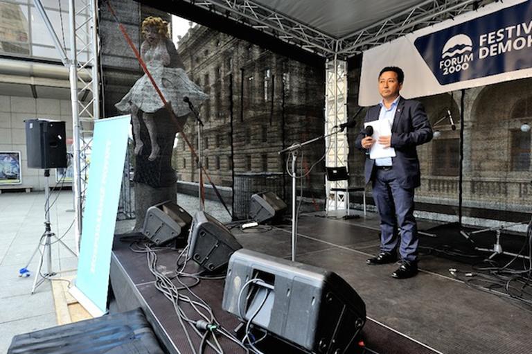 Director Tashi Phuntsok speaking at Festival of Democracy at Prague.