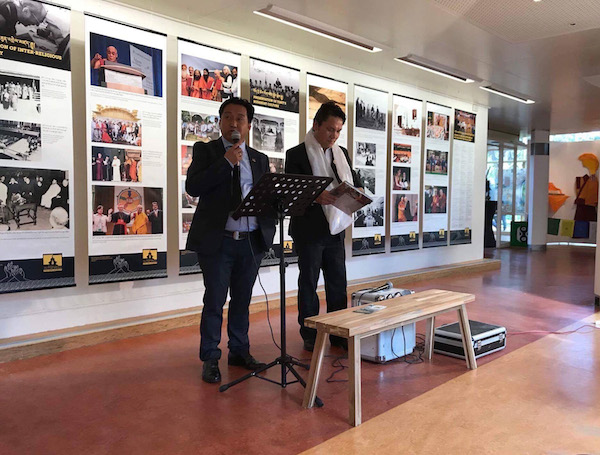 Director Tashi Phuntsok of The Tibet Museum delivering the opening remarks at the Museum of Contemporary Tibetan Art, in Emmen, a town in North-eastern Netherlands.