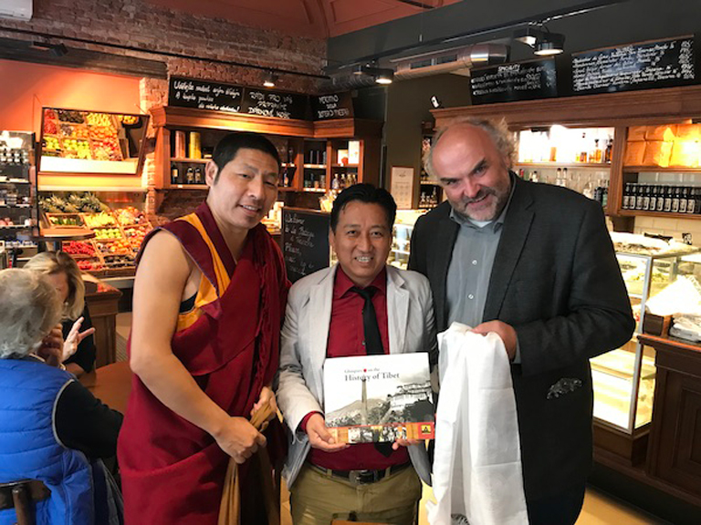 Mr Tahsi Phuntsok and Ven Geshe Yeshi meeting with Dr Jiri Fajt, General Director of National Gallery, Prague.