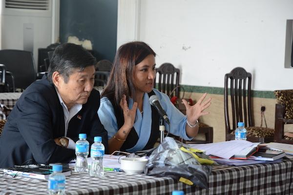 DIIR Secretaries Sonam Norbu Dagpo and Tenzin Dhardon Sharling at the two-day meeting of content developers. Photo/Tenzin Jigme/DIIR