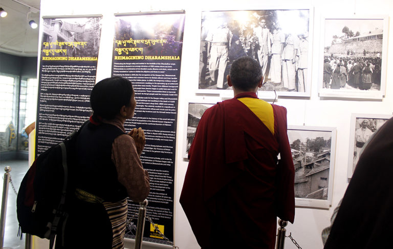 Visitors at The Tibet Museum's exhibition on reimagining Dharamshala. Photo/Tenzin Jigme/DIIR