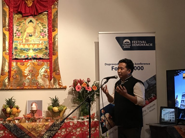 Mr Tashi Phuntsok speaking about the exhibition.