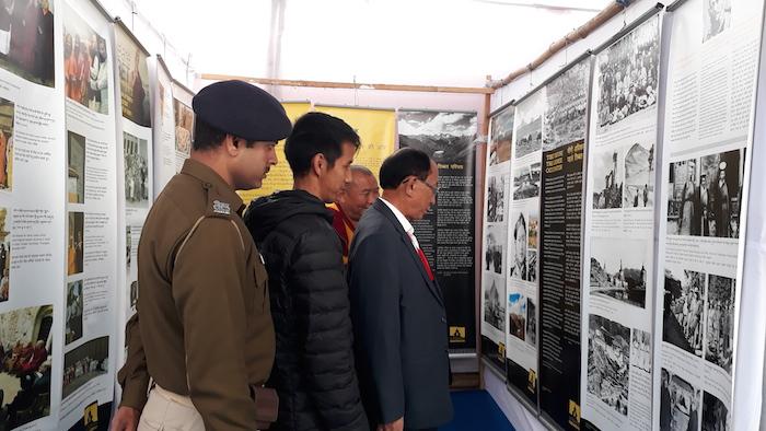Shri Nangzey Dorjee, BTMC Secretary and Amchi la of Namgyal Monastery visiting Tibet Museum's exhibition on 16 January 2018. Photo/Tibet Museum