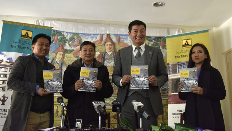CTA President Dr Lobsang Sangay with DIIR secretaries Sonam Norbu Dagpo and Tenzin Dhardon Sharling launching a booklet on Tibet Museum, at the press conference, 12 January 2018. Photo/Tenzin Phende/ DIIR