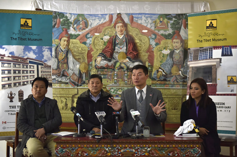 CTA President Dr Lobsang Sangay with DIIR secretaries Sonam Norbu Dagpo and Tenzin Dhardon Sharling and Tashi phuntsok, director of Tibet Museum at the press conference, 12 January 2018. Photo/Tenzin Phende/ DIIR