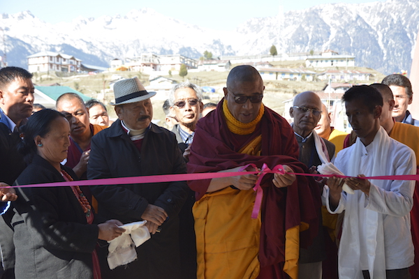 Gangkar Tulku, abbot of Tawang monastery along with Shri R K Khrimey, inaugurating the exhibition by The Tibet Museum at Tawang, Arunachal Pradesh.