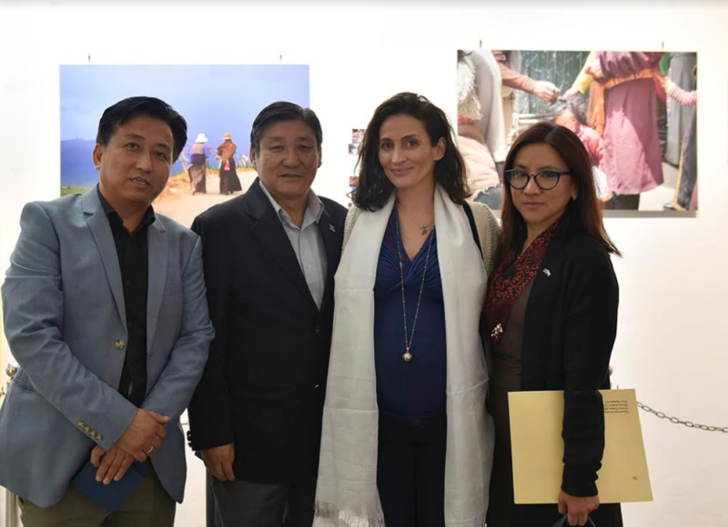 Secretary Sonam Norbu Dagpo, Secretary (Equivalent) Tenzin Dhardon Sharling and Director Tashi Phuntsok, Tibet Museum with Filmmaker Sandra Dolani at the exhibition, 22 March 2018. Photo/Tenzin Phende/DIIR