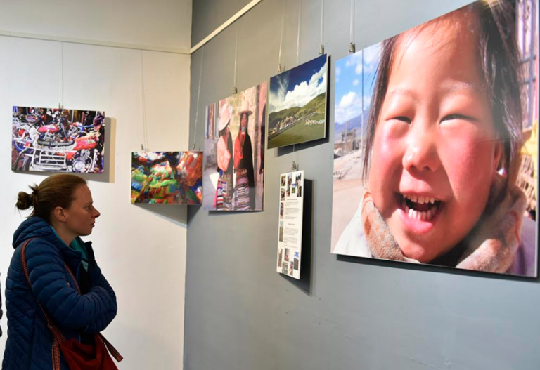 """Visitors at the exhibition titled """"Lithang, Kham: The Cradle of the Tibetan Resistance', 22 March 2018. Photo/Tenzin Phende/DIIR"""