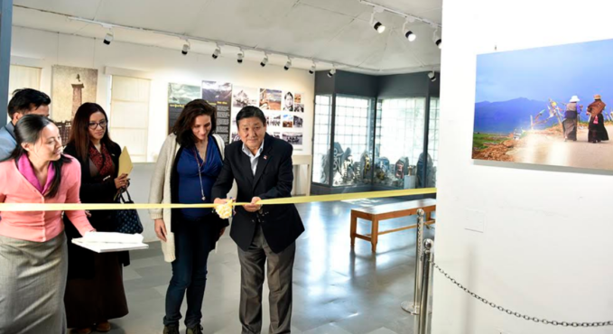 Secretary Sonam Norbu Dagpo, Department of Information & International Relations, CTA inaugurates photo exhibition titled, 'Lithang, Kham: The Cradle of the Tibetan Resistance' at Tibet Museum, 22 March 2018. Photo/Tenzin Phende/DIIR