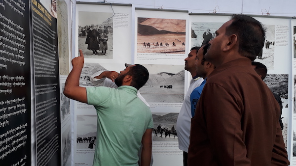 Visitors at the exhibition.