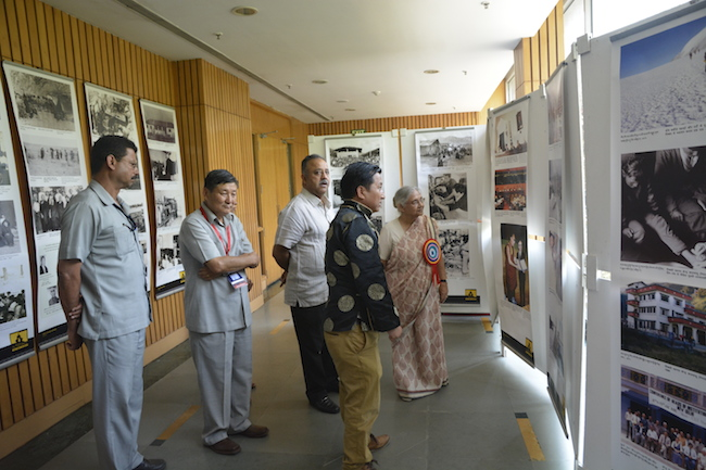 The Tibet Museum Director Mr. Tashi Phuntsok accompanied by DIIR Secretary Mr. Sonam Norbu Dagpo taking Smt. Sheila Dixit through the exhibition. Photo/Tibet Museum/DIIR