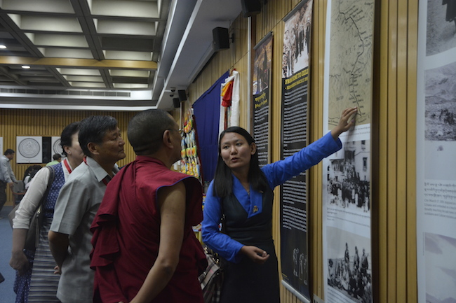 Kalon Karma Gelek Yuthok and group being taken through the exhibition by the museum staff. Photo/Tibet Museum/DIIR